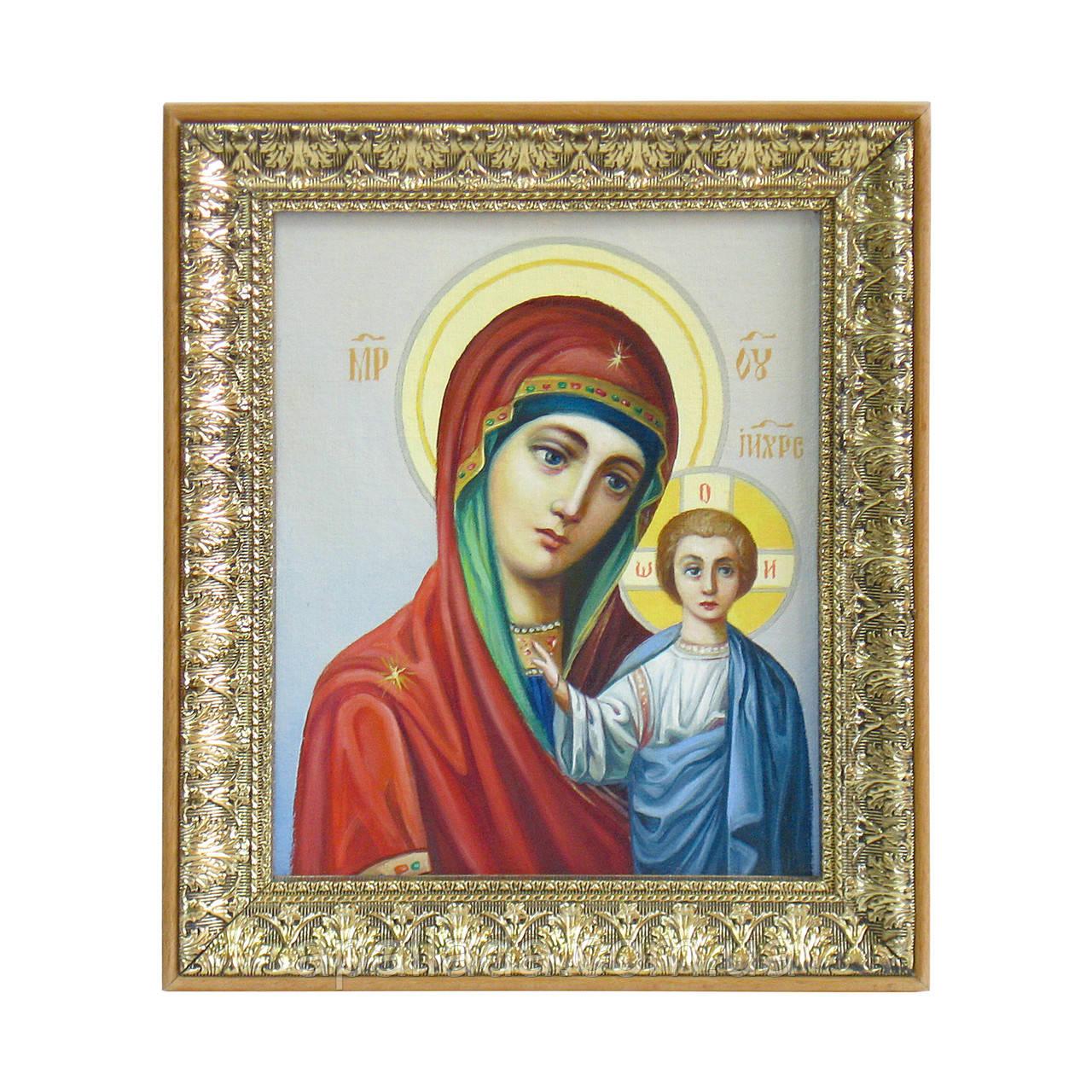 Икона маслом Божья Матерь с ребенком.