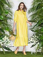 Желтое льняное платье-макси женское 44-46 48-50 52-54