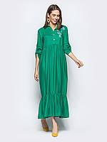 Зеленое льняное платье-макси женское 44-46 48-50 52-54