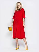 Летнее красное платье трапеция женское ниже колена миди 44-46 48-50 52-54