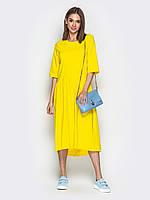 Летнее желтое платье трапеция женское ниже колена миди 44-46 48-50 52-54