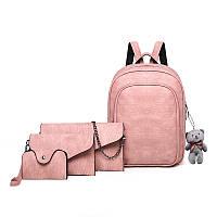 Рюкзак + клатч, кошелёк и визитница набор розовый экокожа. уценка