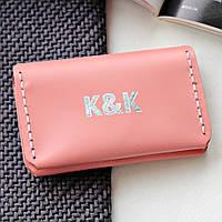 Картхолдер-визитница из натуральной кожи  от K&K! Ручная работа! + Подарок! Бесплатно подарочная упаковка! Пудровый