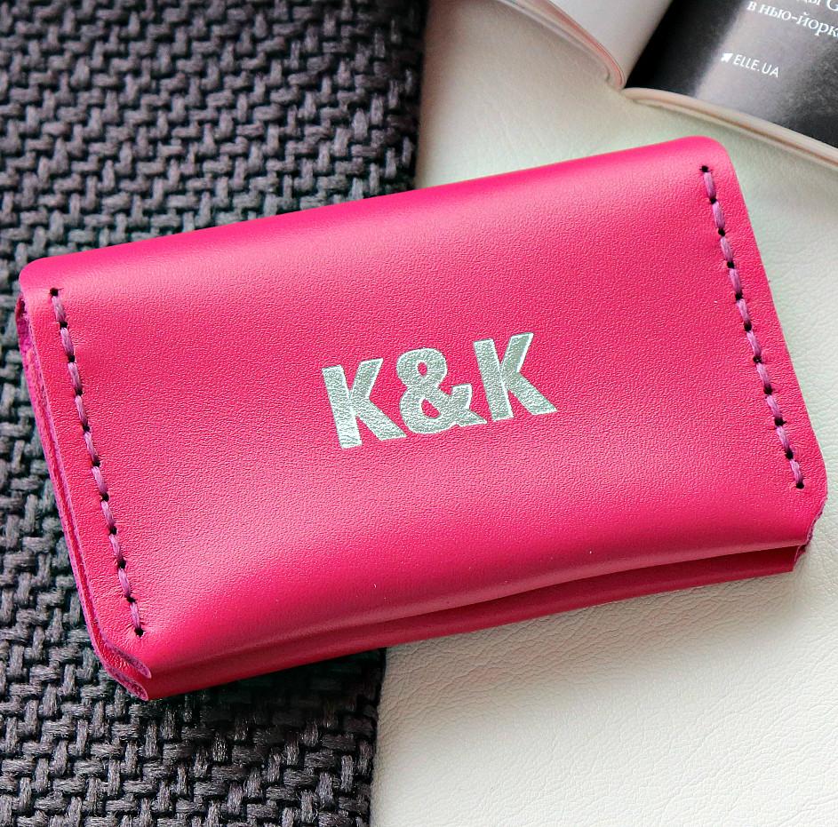 Картхолдер-визитница из натуральной кожи  от K&K! Ручная работа! + Подарок! Бесплатно подарочная упаковка! Малиновый