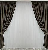 Готові щільні штори оксамит на вікна гіркий шоколад(тканинні підхоплення + 50 грн.)