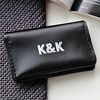 Картхолдер-визитница из натуральной кожи  от K&K! Ручная работа! + Подарок! Бесплатно подарочная упаковка! Черный