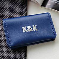 Картхолдер-визитница из натуральной кожи  от K&K! Ручная работа! + Подарок! Бесплатно подарочная упаковка! Синий