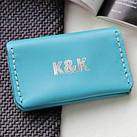 Картхолдер-визитница из натуральной кожи  от K&K! Ручная работа! + Подарок! Бесплатно подарочная упаковка! Голубой