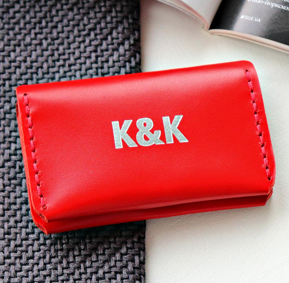 Картхолдер-визитница из натуральной кожи  от K&K! Ручная работа! + Подарок! Бесплатно подарочная упаковка! Красный