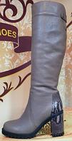 Сапоги осенние кожаные на каблуке от производителя модель КЛ919Д, фото 1