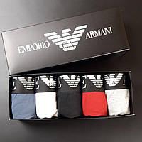 Мужские трусы Armani боксеры Армани 5 штук хлопок шортики, набор трусов, подарочный набор