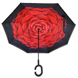 Ветрозащитный зонт обратного сложения Up-Brella с рисунком «Красный цветок». Зонт наоборот (обратный зонт)