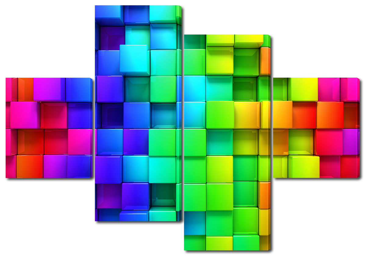 Модульная картина Interno Эко кожа Абстракция мозаика 146х100см (A1606L)