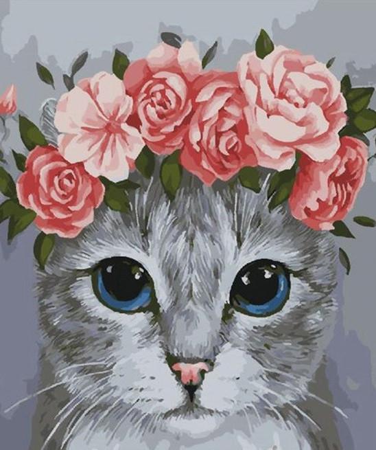 Картина по номерам на холсте Котик в веночке, GX28567