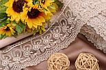 Кружево с цветочками и бантиками цвета капучино, ширина 8 см., фото 2