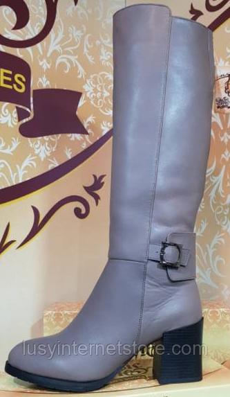 Сапоги кожаные деми на каблуке от производителя модель КЛ911Д