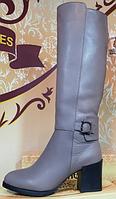 Сапоги кожаные деми на каблуке от производителя модель КЛ911Д, фото 1