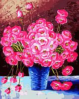 Картина по номерам на холсте Розовые цветы в синей вазе, GX9162