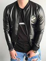 Мужская кожаная куртка бомбер с черепом черная. Фото в живую, фото 1