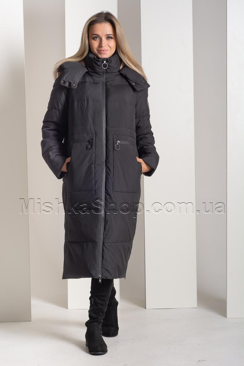 Длинный зимний пуховик оверсайз в спортивном стиле чёрного цвета Towmy 2239
