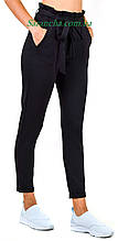Штани жіночі трикотажні, манжет, чорний колір, р. 42-48