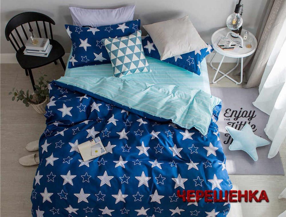 Семейный набор хлопкового постельного белья из Сатина №1913AB  Черешенка™