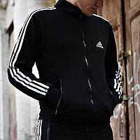 Кофта спортивная мужская на молнии черная Adidas, олимпийка мужская адидас