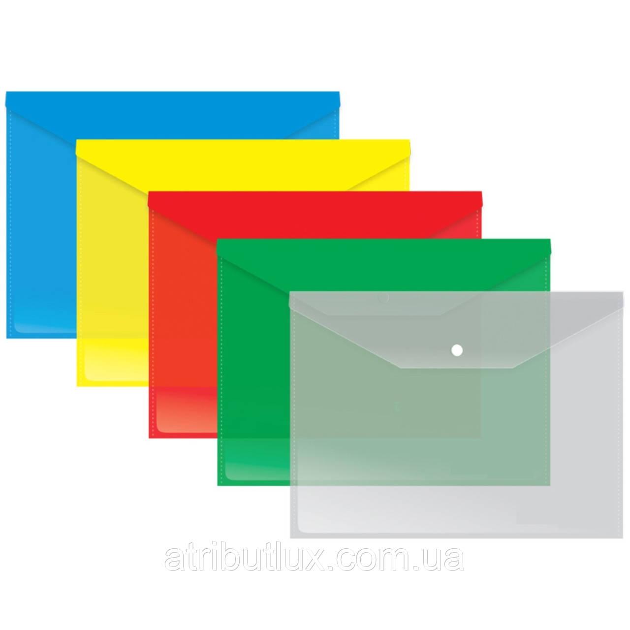 В5 папка-конверт прозрачная на кнопке 180 мкм, глянец