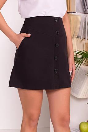 Трапециевидная юбка мини с боковыми карманами (S, M, L) черная, фото 2
