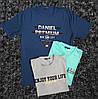 Мужская футболка  ботал синяя,серая и мята с надписью