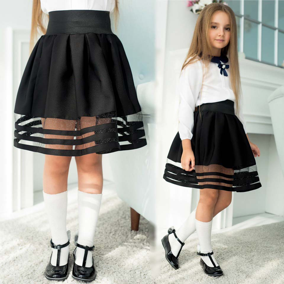 """Детская стильная школьная юбка 635""""Креп Полосы Сетка"""""""