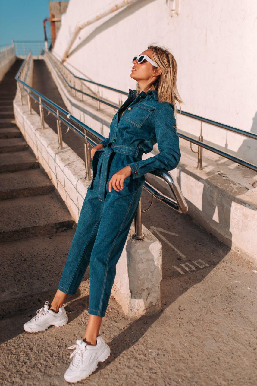 Джинсовый комбез синий женский