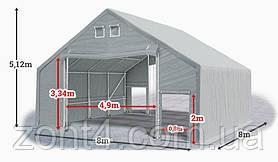 Шатер 8х8х3 метров ПВХ 720г/м2 с мощным каркасом под склад, гараж, палатка, ангар, намет, павильон садовый