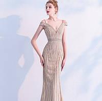 Золотое вечернее платье ручной работы. Вечірнє плаття рибка. Очень красивое вечернее платье расшито бисером