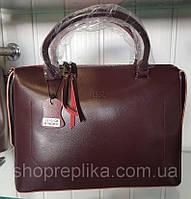 Женская Кожаная сумка бордовая реплика Фенди , кожаные женские сумки, фото 1