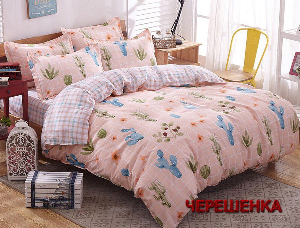 Евро макси набор постельного белья 200*220 из Сатина №1919AB  Черешенка™