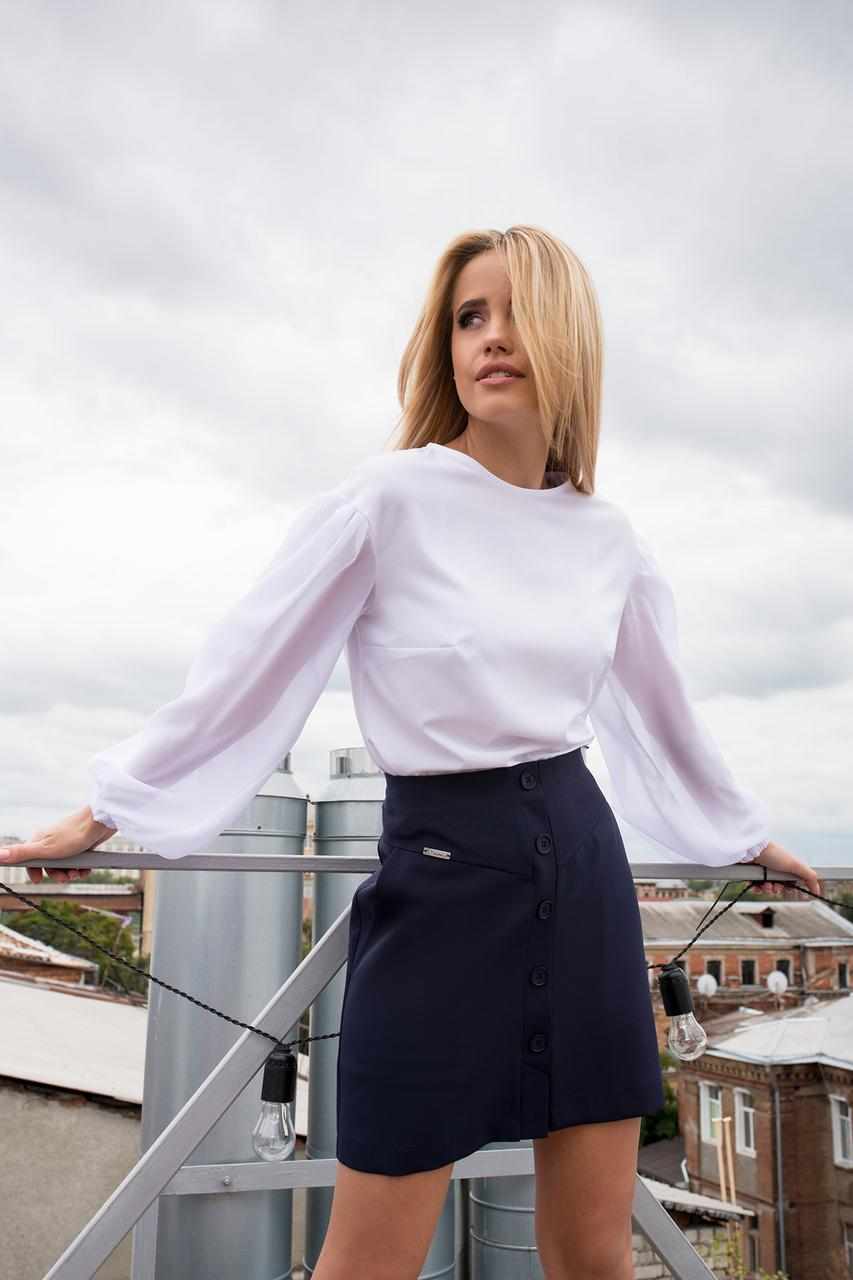 Трапециевидная юбка мини с боковыми карманами (S, M, L) темно-синяя