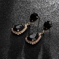 Сережки з камінням gold black