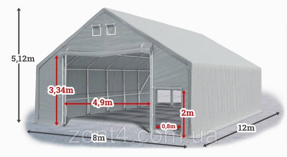 Шатер 8х12х3 метров ПВХ 720г/м2 с мощным каркасом под склад, гараж, палатка, ангар, намет, павильон садовый