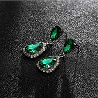Сережки з камінням silver green