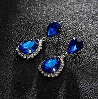 Сережки з камінням silver royal blue