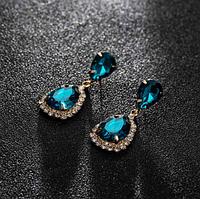 Сережки з камінням gold peacock blue