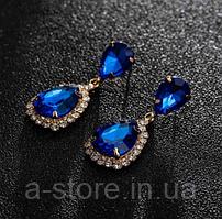 Сережки з камінням gold royal blue