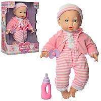 Игрушечный пупс  в розовой одежде с бутылочкой M 3887 UA LIMO TOY