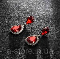 Сережки з камінням silver red