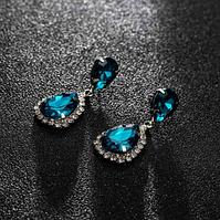 Сережки з камінням silver blue peacock