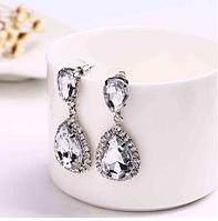Сережки з камінням silver white