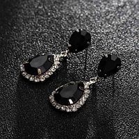 Сережки з камінням silver black