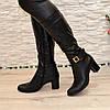 Сапоги кожаные женские на устойчивом каблуке, декорированы ремешком, фото 5
