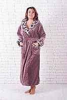 Шикарный длинный  женский  халат с капюшоном